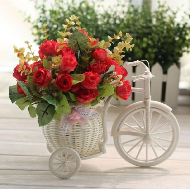 Diy пластиковый белый трехколесный велосипед дизайн цветочные корзины контейнер для цветочных растений главная свадебные украшения, венки