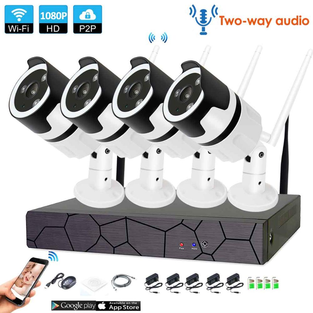 4CH Audio Talk HD Wireless NVR Kit P2P 1080P Indoor Outdoor IR Night Vision Security 2.0MP IP Camera WIFI CCTV System