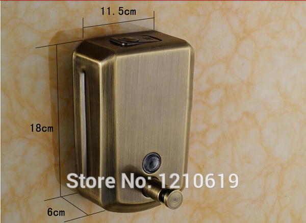 New Us Free Shipping Antique Bronze 800ml Stainless Steel Bathroom Manual Liquid Soap Dispenser Shampoo Bo