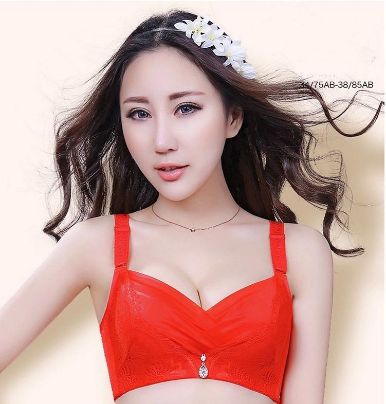 595db7f38f Lace Deep V super gather sexy bra push up breasted four hook small ...
