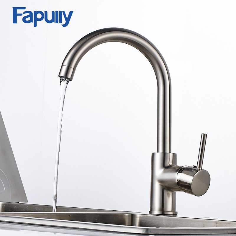 Fapully Kitchen Faucet Sink Black Mixer 360 Degree Rotating Deck Mounted Taps Torneira