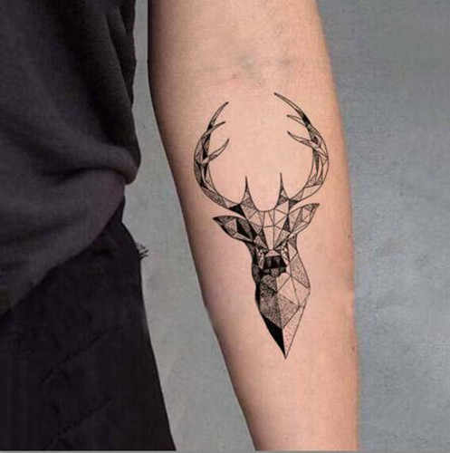 Waterproof Temporary Fake Tattoo Stickers 3D Grey Elk Moose Cool Design Body Art Make Up Tools