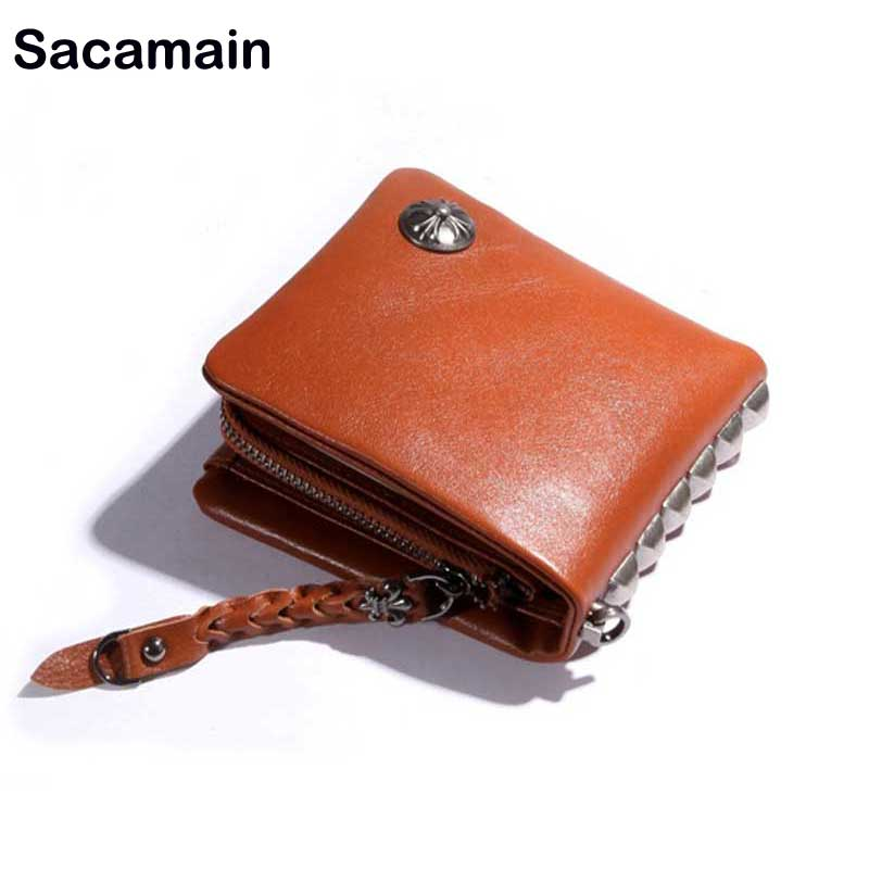 Sac a Main Coin Purse Mens Zipper Wallet Handmade Leather Bags Small Wallet Men Genuine Leather Wristlet Call Of Duty Moda Mujer