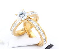 Phoebus Wholesale 12pcs/lots Wholesale CZ couple ring for women men stainless steel wedding jewelry provide mix size