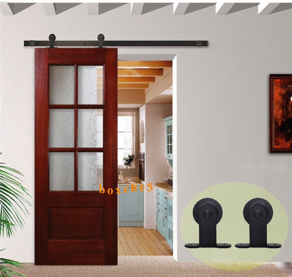 5FT-8FT Puerta Corredera Sliding Barn Door Hardware Antique Black Roller  Steel Track Barn Wood Sliding Double Door Hardware - Hot Sale 5FT-8FT Puerta Corredera Sliding Barn Door Hardware Antique