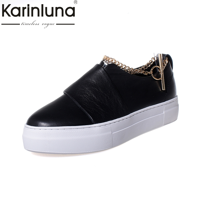 KARINLUNA Fashion genuine leather large size 34-39 round Toe slip on casual Shoes Woman black white  shoes Women Shoes электрогитара dean zero cbk