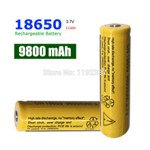 10pcs 18650 Battery 3.7V 9800mAh Rechargeable li-ion  for Led flashlight batery litio battery Cell