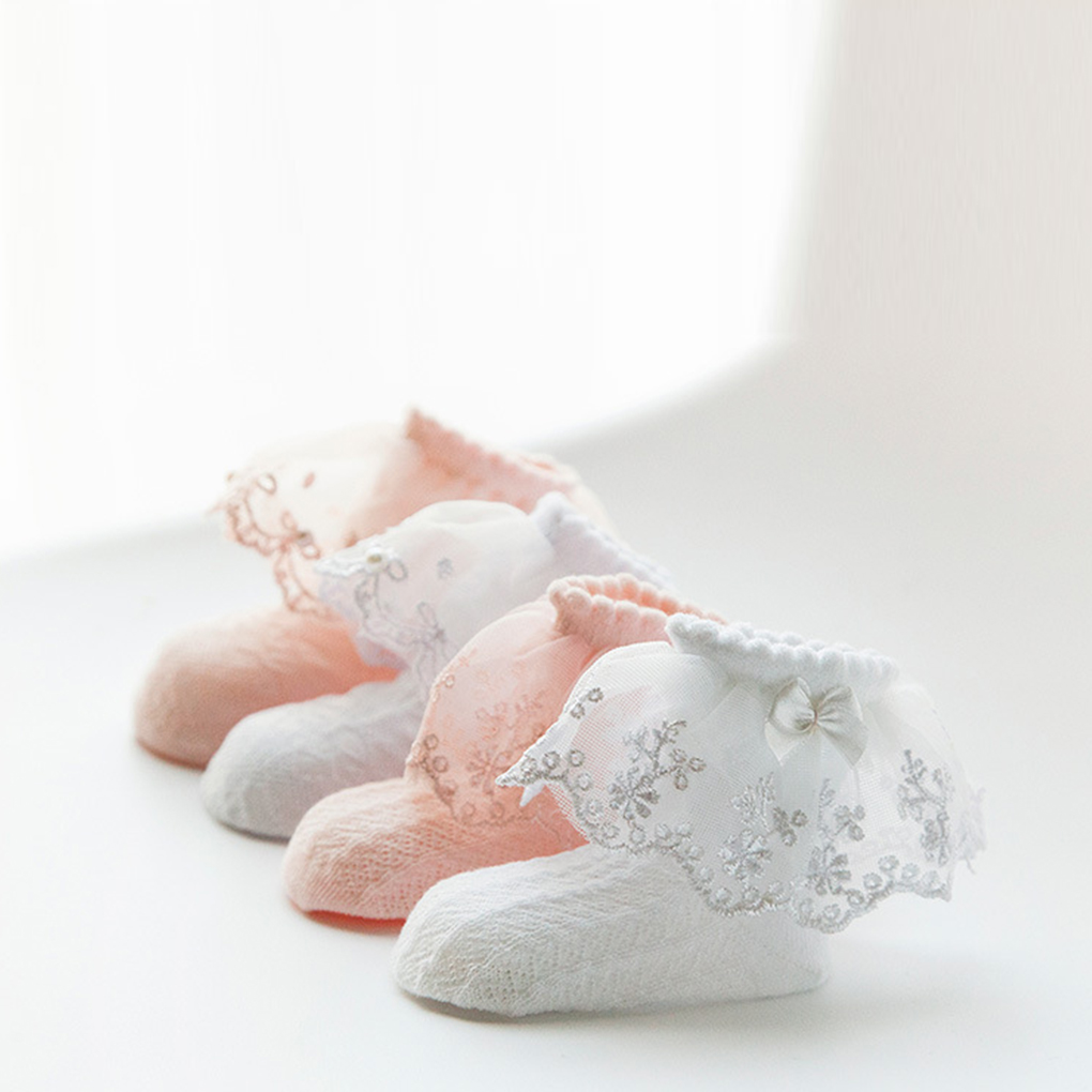 Bowknot/Pearl Decor Children Girls Baby Flower Edge Mesh Socks Sweat Absorb Cotton Summer Socks Bebe Newborn Cotton Baby Socks
