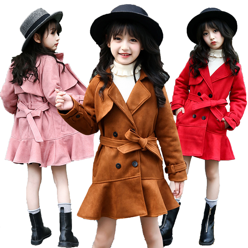 Spring Autumn Children Clothing Girls Jackets Fashion Double Breasted Suede Trench Coats For Girls Long Jackets Outwear