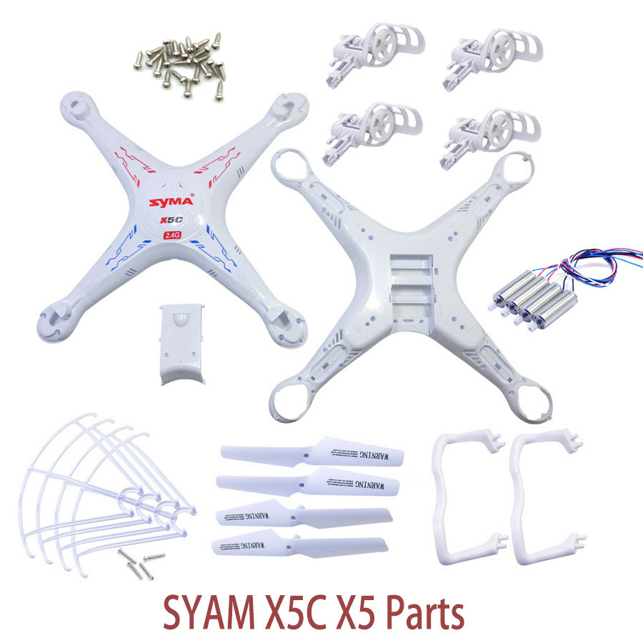 SYMA X5C X5 Spare Parts Shell Motor Propeller Main Blade Landing Gear Kit Protection Ring Frame Remote Control Drone Accessories 16pcs 8 pairs 10 blade propeller 1045 brushless motor for qav250 dron drones drone frame parts kit fpv quadcopter frame