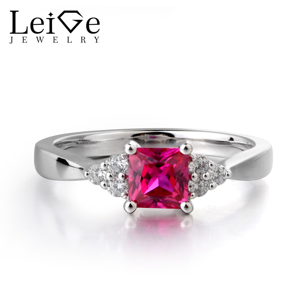 Leige Jewelry Red Ruby Gemstone 925 Sterling Silver July Birthstone Princess Cut Engagement Rings Romantic Gifts For Woman