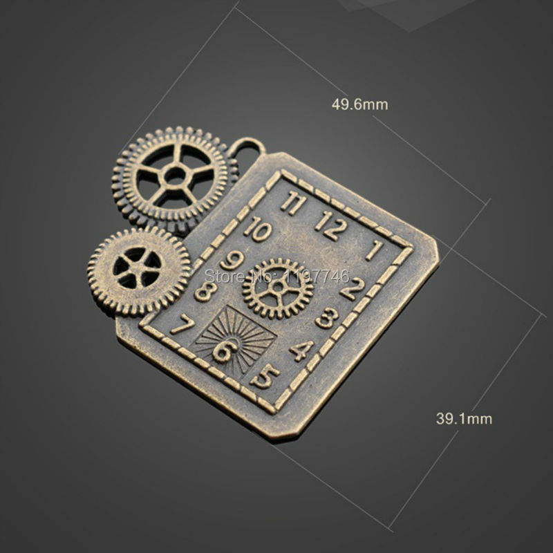 2016 New 50pcs 49.6x39.1mm Embossed Clock Pendant Jewelry 2016 Vintage Bronze Zinc Alloy Charm Punk Gear
