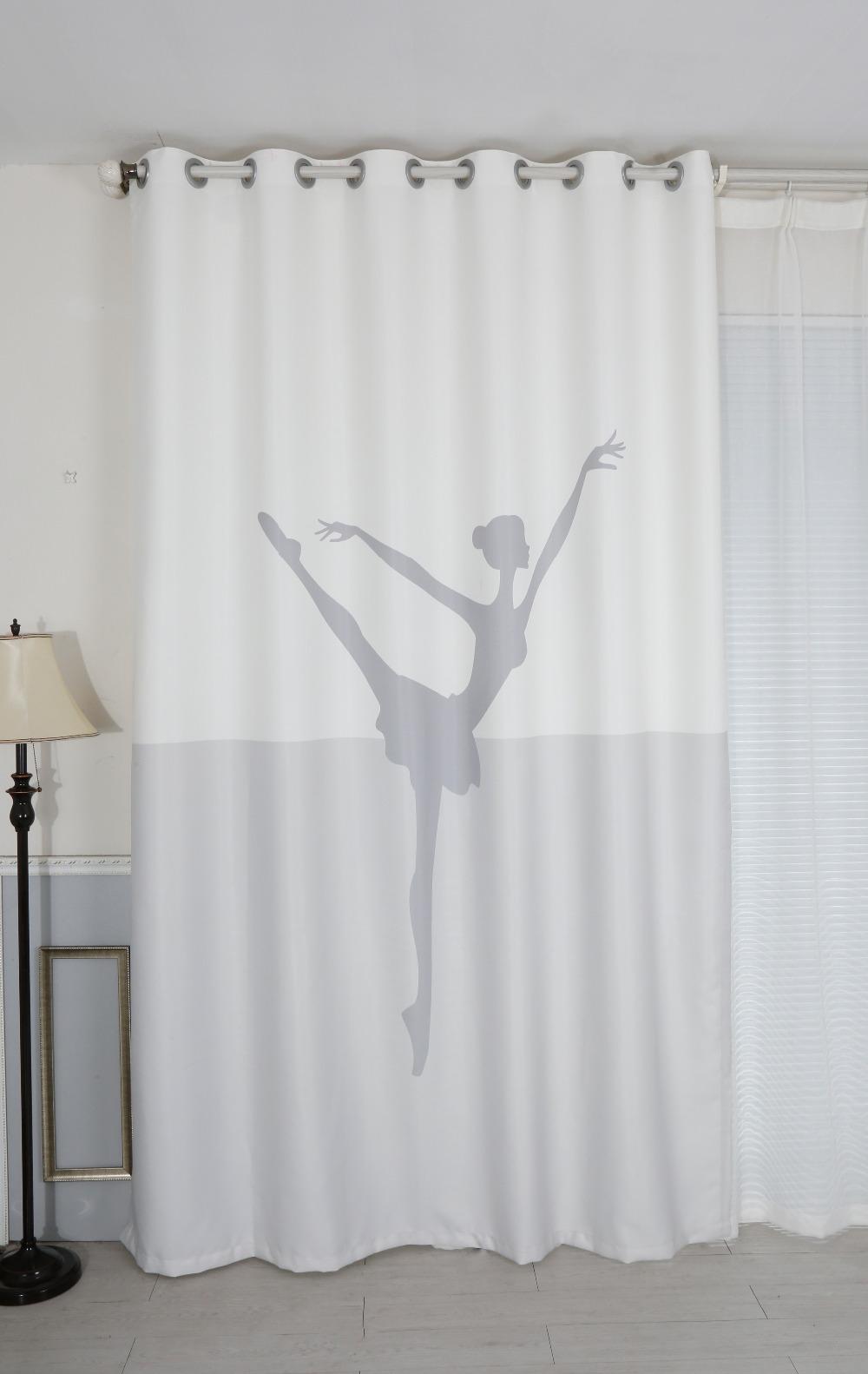 Senisaihon 3d Blackout Curtains Cartoon White Ballet Woman Pattern