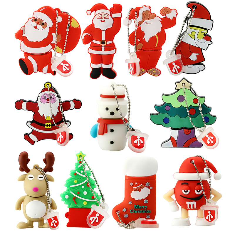 USB Flash Drive 128GB Pen Drive Kartun Snowman Christmas Tree Hadiah 4GB 8GB 16GB 32GB 64GB Santa Claus Pendrive