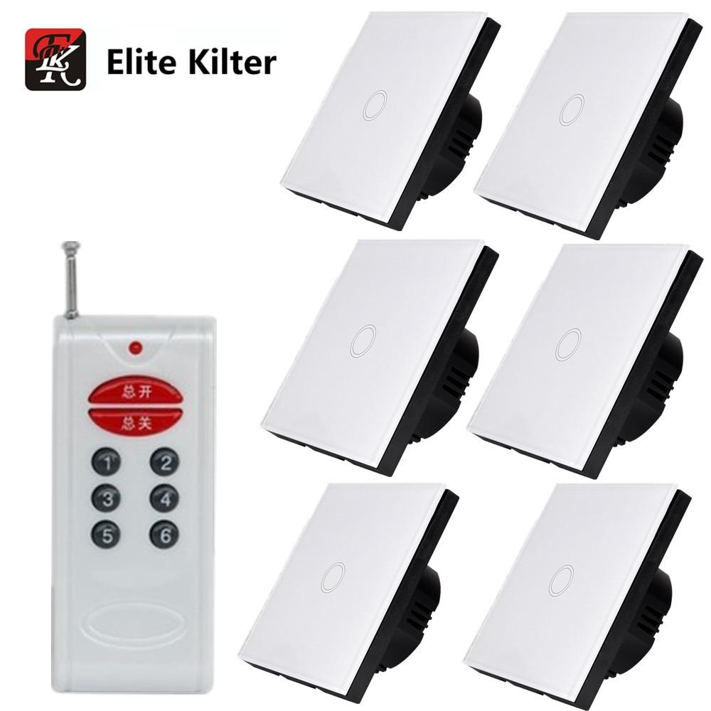 Elite Kilter EU/UK стандартный настенный Дистанционное управление освещением 220 В сенсорный выключатель 1 банда 6 способов розетка с разными гнездами белое Хрустальное стекло