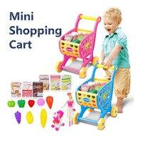 Crianças Carrinho de Compras de Brinquedos Pretend Play Brinquedos Para Crianças Mini carrinho Com Frutas Legumes Alimentos Cozinha Casa de Jogo Presente GW52