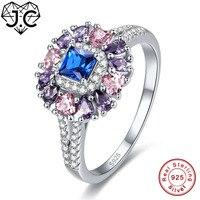 JC 2017 New Fashion Rubino Spinello & Zaffiro Rosa, Ametista, Topazio Reale 925 Sterling Silver Ring Size 6 7 8 9 Esaltato Fine Jewelry