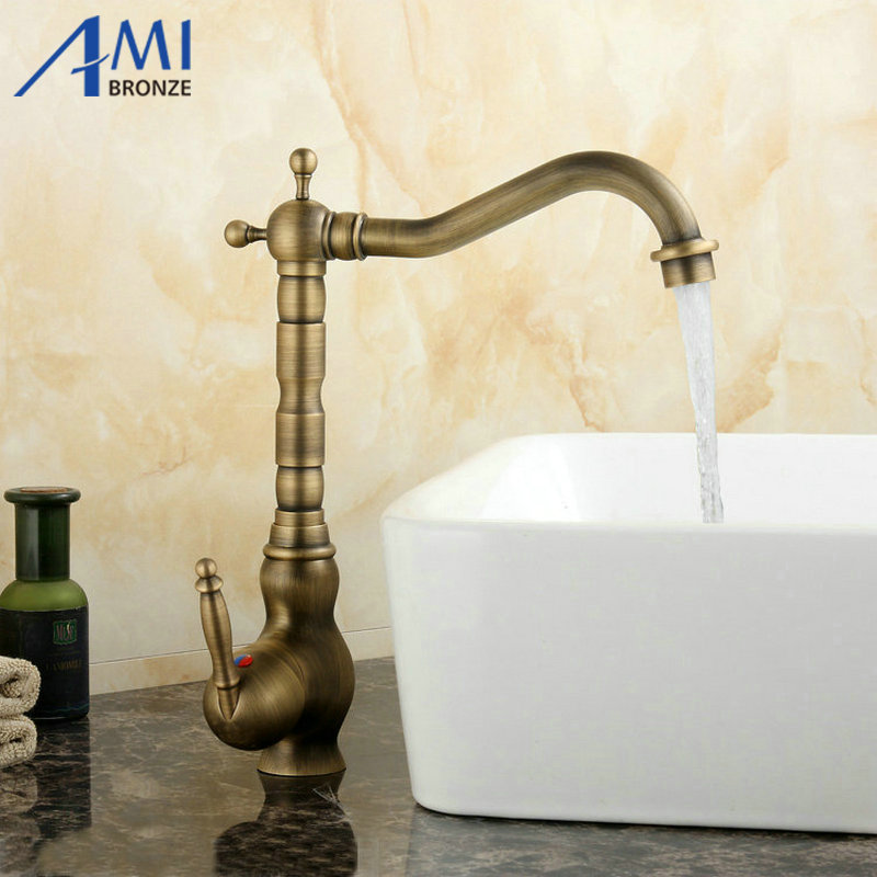 Antique Brass Faucets Kitchen Swivel Sink Faucet Bathroom Basin Mixer Tap 9066A 360 swivel kitchen faucet antique brass chrome polish double handle bathroom basin sink mixer tap faucets
