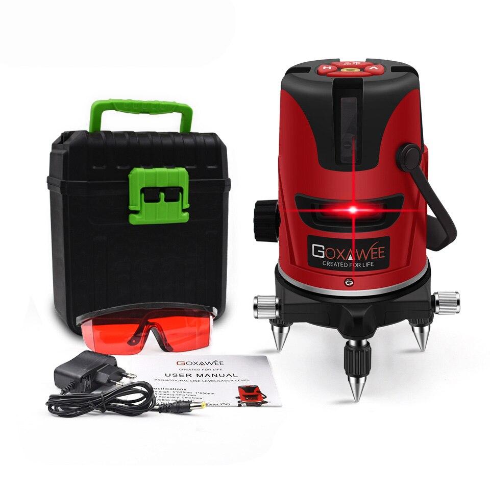 GOXAWEE, красный лазерный уровень, 360 градусов, перекрестная линия, вращающийся уровень, измерительные приборы, 5 линий, 6 точек, для строительных инструментов - Цвет: 3108