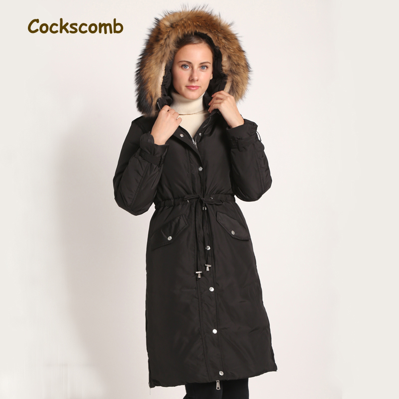 Cockscomb 2018 New Large Real Raccoon Fur Collar Duck   Down     Coat   Outerwear Women Adjustable Waist Thick Warm Winter   Down   Jackets