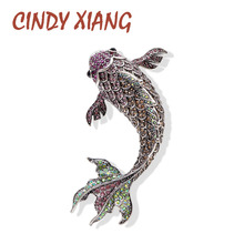 CINDY XIANG Full Rhinestone Large Fish Brooches for Women Vivid Carp Pins Big Fashion Vintage Animal Accessories Jewelry 2 Color
