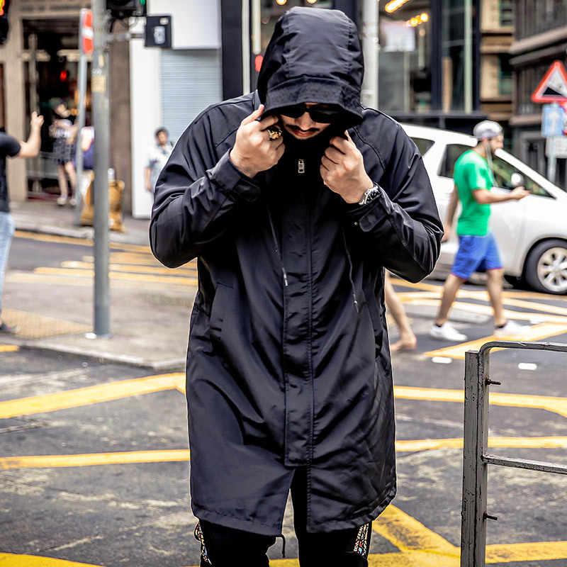 大サイズ 5XL 6XL メンズロングトレンチコート秋のジャケット男性のカジュアル黒フード付き公園ウインドブレーカー大学爆撃機ジャケット