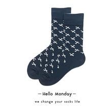 Moda Mulaya Brand Womens Happy Socks 100% Cotton Mens Plane Pattern Hip Hop Funny Navy Harajuku Street Wear