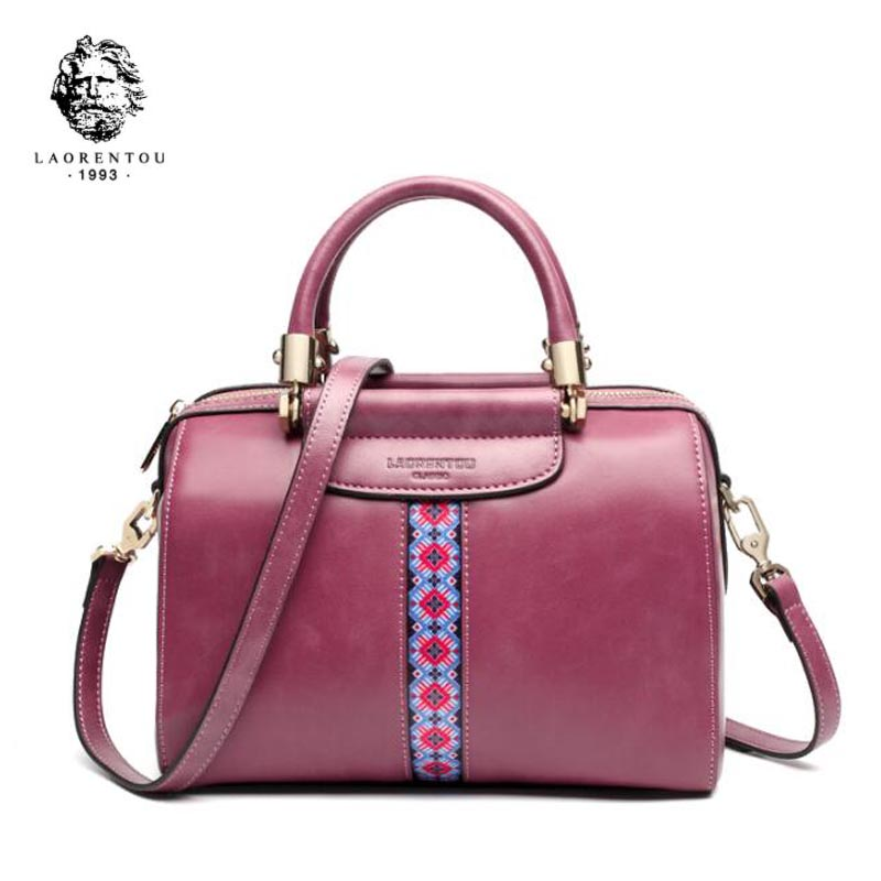 LAORENTOU 2018 New women leather bag fashion luxury handbags women bags designer Handbags & Crossbody bags tote Boston bag new women leather bags fashion embroider flowers luxury tote handbags designer women bag leather handbags crossbody bags