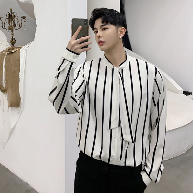 2019M-XXL!!Spring black and white striped loose thin long-sleeved shirt tide brand men's bow tie decorative shirt.