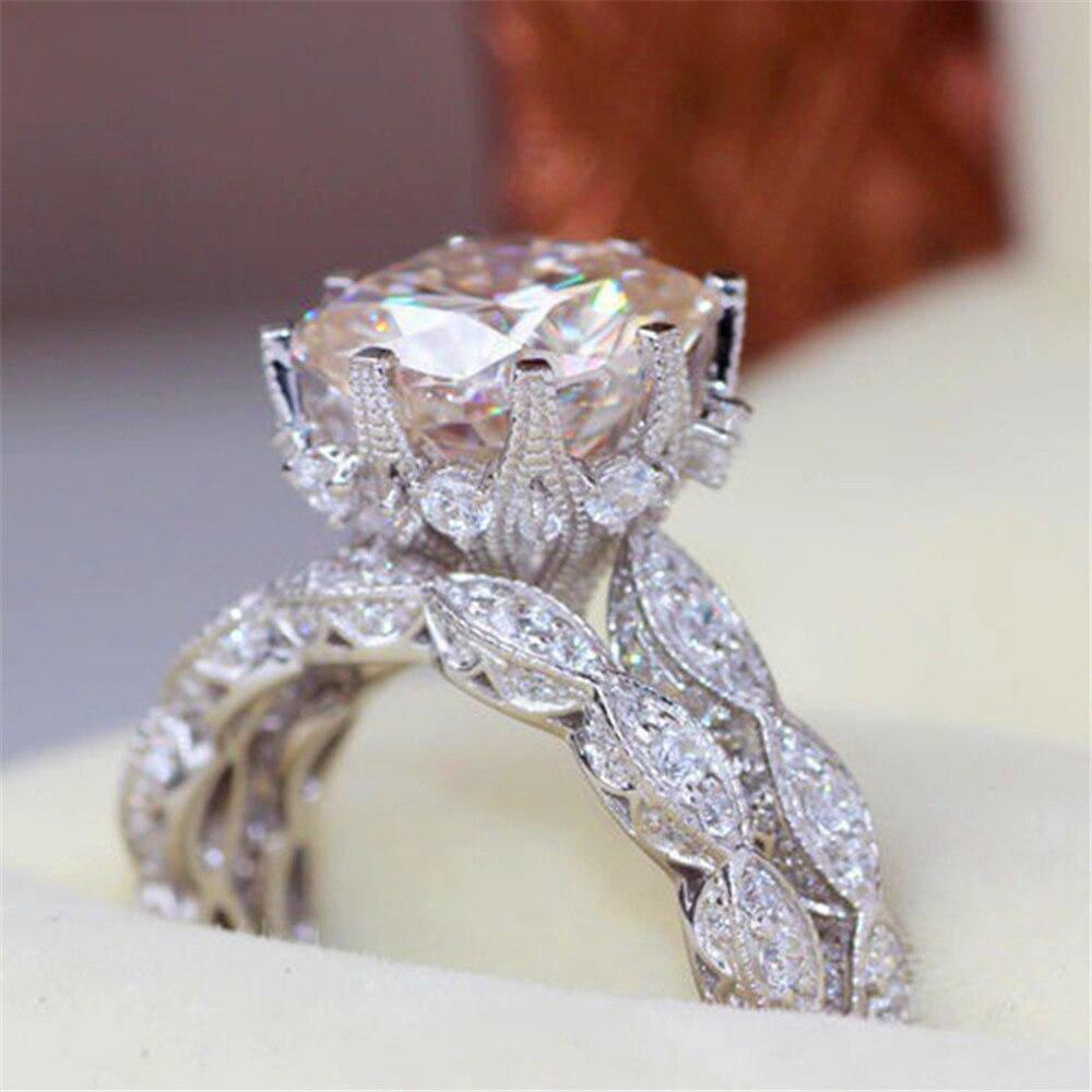 Loredana Elegant and charming lady engagement gift fashionable shiny work exquisite plating craft round set of zircon rings