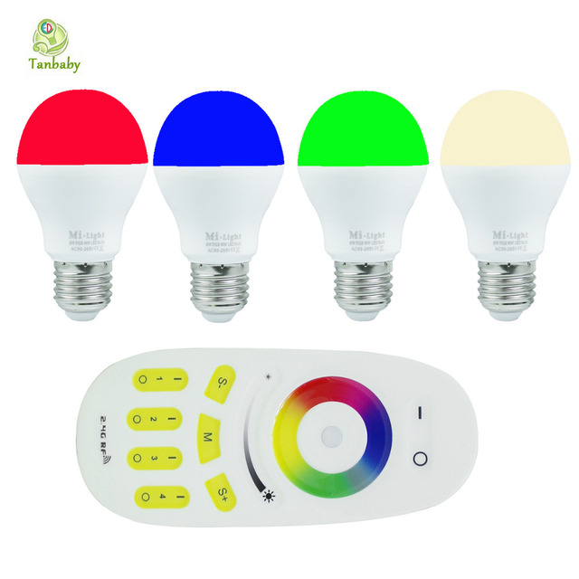 Tanbaby 4X  E27 6W RGB+warm white led bulb Mil.light smart light lamp + 1 X wireless 2.4G 4-zone remote controller