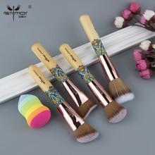 Anmor 4PCS Colored Handle Mini Size Makeup Brush Unique Professional Make Up Brushes Tools Kabuki Duo Fiber Brushes With Sponge