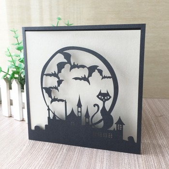100pcs/lot Hot Laser Cut Invitation Card Delicate Carved Pattern Happy Halloween Celebration Greeting Card Party Favor