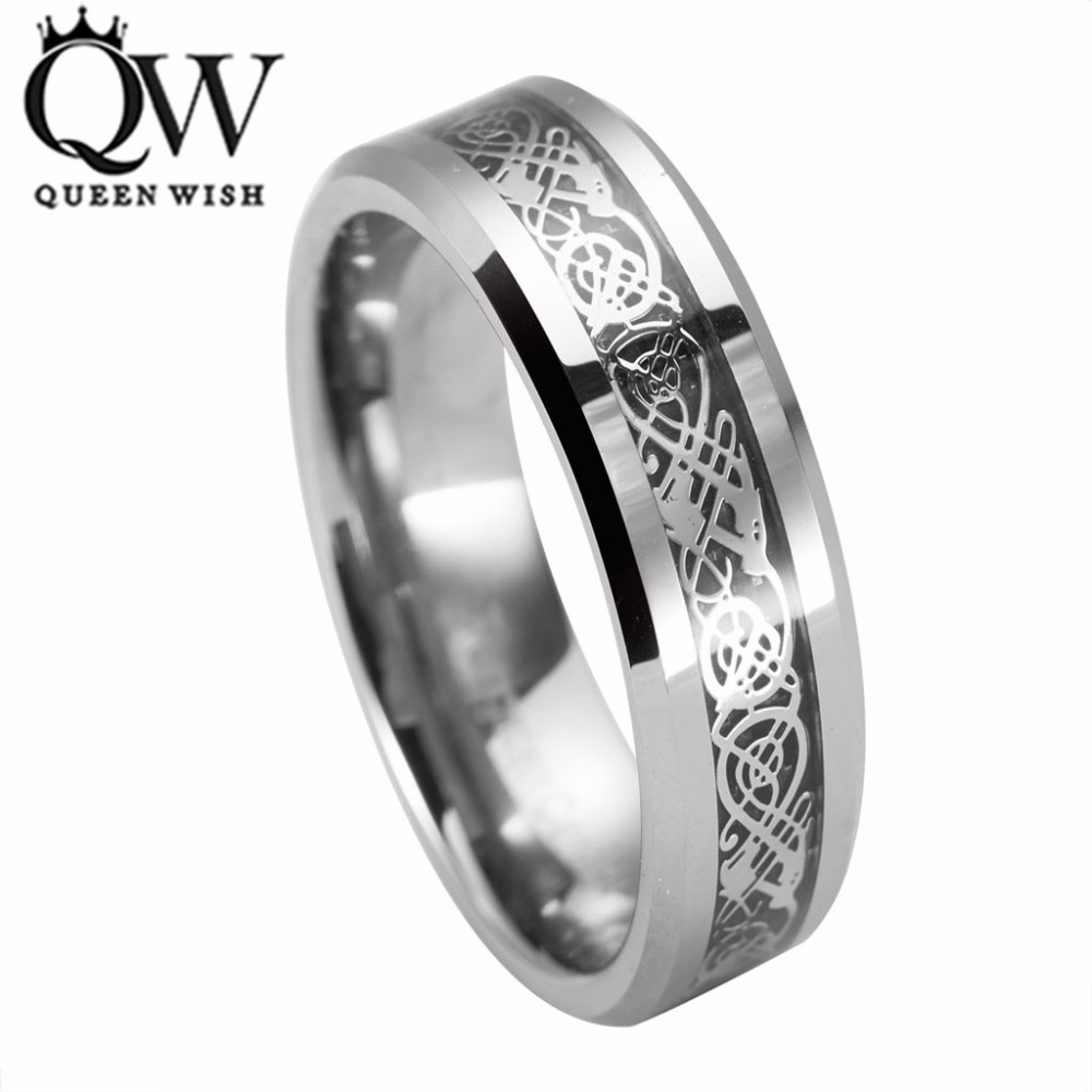 queenwish eternity unique wedding bands vintage dragon tungsten silver celtic wedding rings for men jewelry