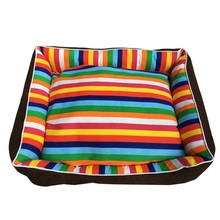 High quality Thick Colorful Stripes Pet Dog Beds House Sofa For Puppy Cat Mat Home Dog Products Pet Supplies