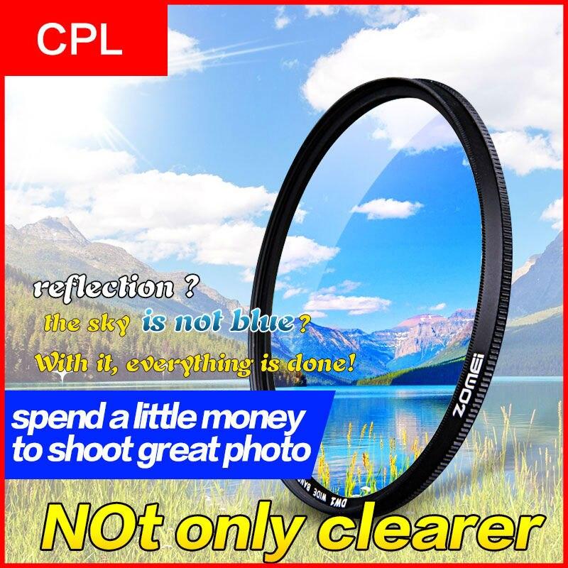 Zomei 52mm cpl polarizzatore circolare filtro polarizzatore per canon nikon sony fotocamera lente 40.5/49/52/55/58/62/67/72/77/82mm