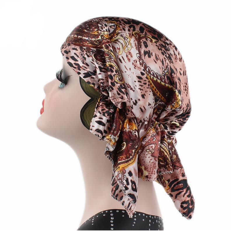 цены на New Fashion Satin Stretch Turban Hat for Women Flowers Elegant Sleep Hat Chemo Hair Loss Bonnet Cap Animal Head Wrap Cover в интернет-магазинах