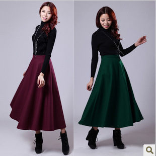 new 2013 wool black solid color fashion women maxi brand skirt ...