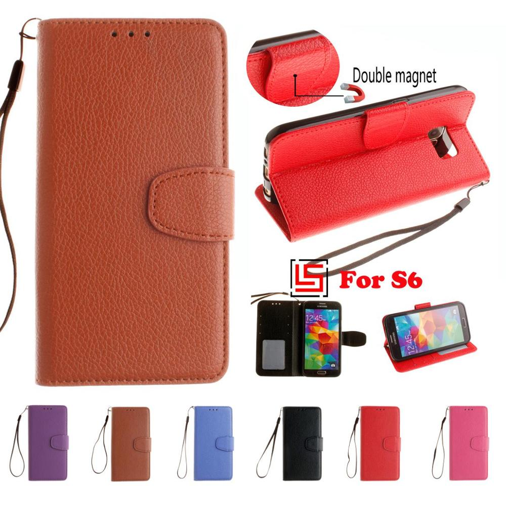 Luxury Retro Fashion PU Leather Leathe Flip Wallet Wallt Phone Case Cover For <font><b>Samsung</b></font> Galaxy S6 <font><b>SM</b></font>-G920F <font><b>SM</b></font> G920F <font><b>G920</b></font> Blue image