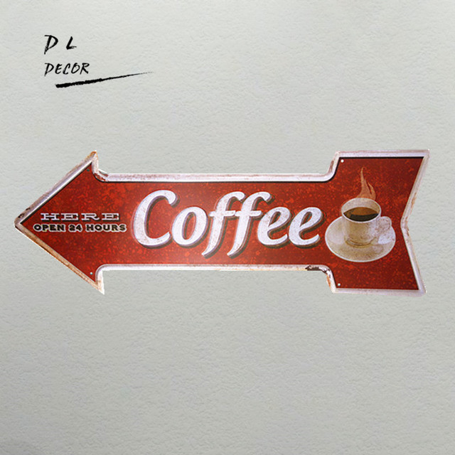 DL Hard Coffee Opening Irregular Arrow Sign Cafe Signs Kitchen Decor Red  Poster Wall