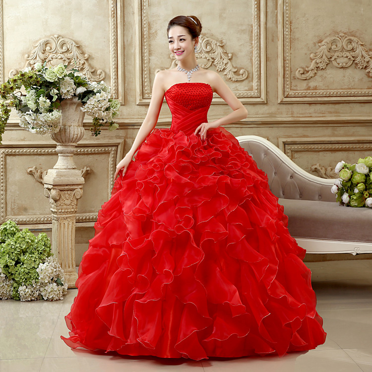Beautiful Red And White Wedding Dress: Romantic Red Wedding Dress Sweetheart Organza Pearls