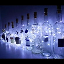 String Lights 2M 20LEDS Wine Bottle With Cork Built In Battery LED Shape Silver Wire Colorful Fairy Mini