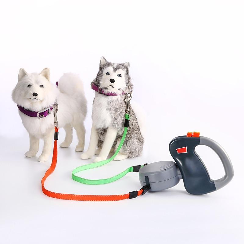 Laisse de chien de 3 M chiot Double laisses pour chien de compagnie pour petits chiens rétractable marche en cours d'exécution produits pour animaux de compagnie fournitures plomb Chihuahua carlin