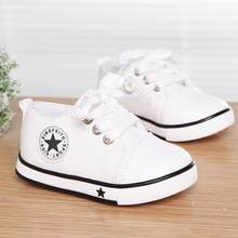 Summer Spring Canvas Children's Shoes Star Fashion Sneakers Kids Lace-up Casual Shoes For Girls Boys Black Withe Red(China)