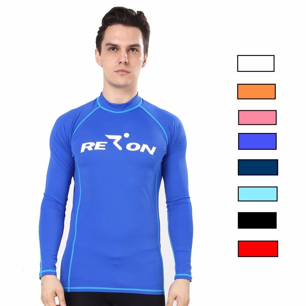 Realon Mulheres e Homens Camisas de Mangas Compridas Top Sol UPF Rash Guards 50 + Xspan Surf Praia Caminhadas Camisa de Natação swimwear