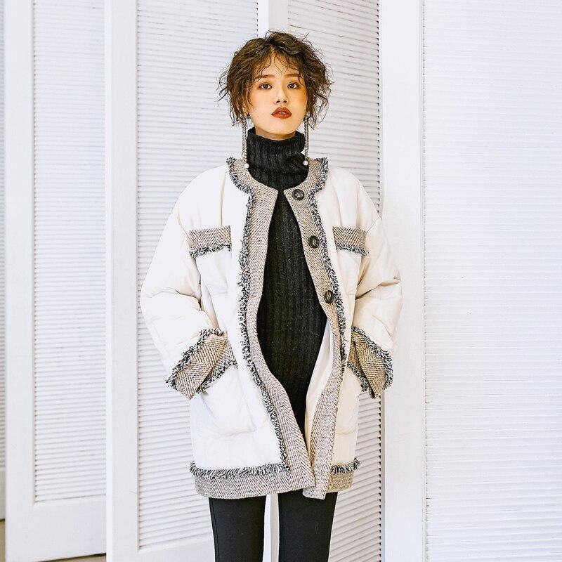 De Parkas Rond White Couleur Splice Hiver Femmes Mode Laine Femelle Veste Hit Coton Gland 2019 Vintage Élégant Rembourré Manteau Col nwOv08ymN