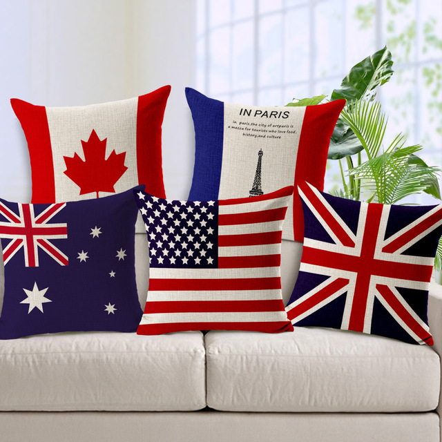 World National Flag Linen Cushion Covers United Kingdom States Australia Flags Decorative Pillow Cases Sofa