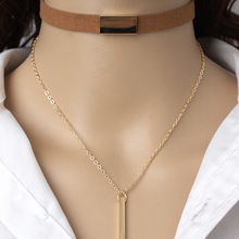 HOMOD layered chokers necklace women 2017 popular gothic black leather tattoo necklaces with Rectangle pendant bijouterie stylish layered round pendant necklace for women