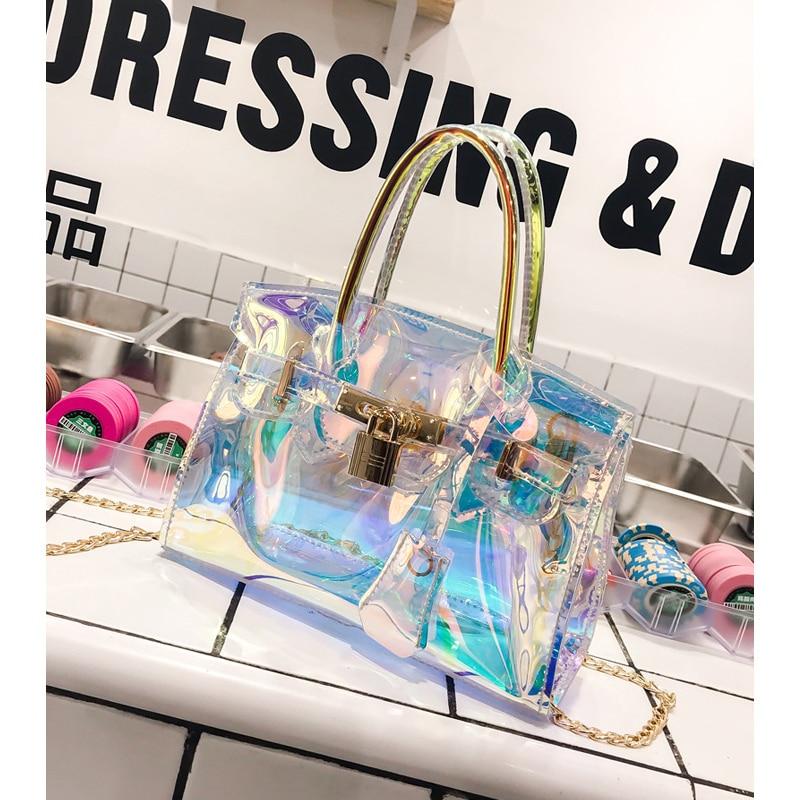Fashion MINI Transparent Bag Laser Clear Jelly Bag Purses And Handbags Sac Femme Crossbody Bag Of Women 2020 Small Clutch Bolsa