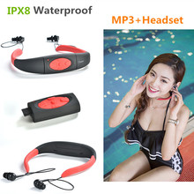 цена на 2017 IPX8 Waterproof 8GB Underwater Sports MP3 Music Player Neckband Stereo Audio Headphone with FM for Diving Swimming Pool